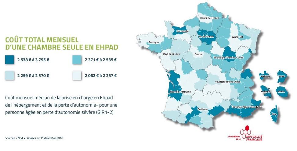 Le prix d'une chambre en Ehpad en France