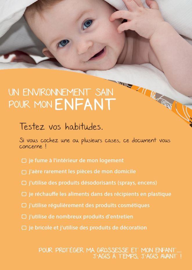 Brochure Un environnement sain pour mon enfant