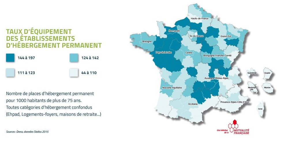 Nombre de places en Ehpad en France
