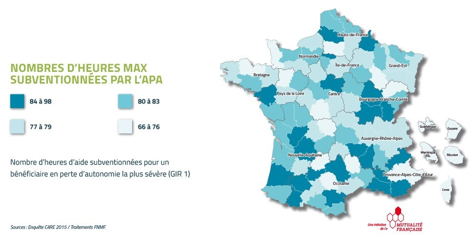 Nombre d'heures subventionnées par l'APA en France